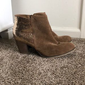 Wanted brown/gold sequin boots size 10